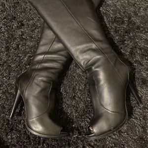 Black over the knee sexy peep-toe boots